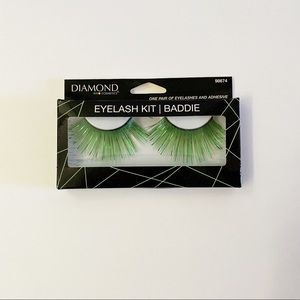 NEW Diamond Emerald Green Metallic False Eyelashes